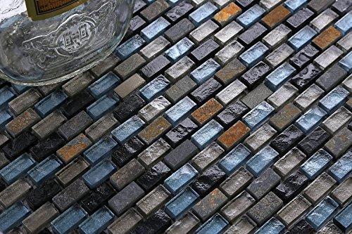 10cm x 10cm modello. Mosaico piastrelle motivo in blu, nero e argento in vetro e pietra naturale. Tessitura iert mattoni effetto pietra (mt0126disegni)