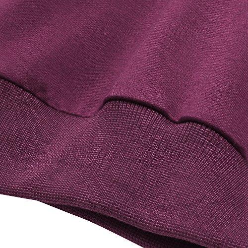 ... Coofandy Herren Langarmshirt Sweatshirt Freizeit Sport Pullover Loose  Fit Knotrastfarben mit 2-Tone Raglan Lila 23478b5cdf