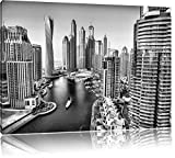 Monocrome, Dubai Metropole , Format: 100x70 auf Leinwand, XXL riesige Bilder fertig gerahmt mit Keilrahmen, Kunstdruck auf Wandbild mit Rahmen, günstiger als Gemälde oder Ölbild, kein Poster oder Plakat