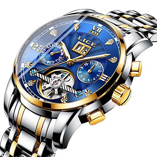 c16f72b916e0 LIGE Relojes Hombres Moda Acero Inoxidable Impermeable Automático Mecánico  Reloj Fecha Negocios Hombre Lujo Reloj De