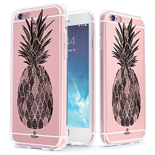 iPhone 6s Tropical Case - True Color Clear-Shield Tropical Watercolor Flowers Printed on Clear Back - Perfect Soft and Hard Thin Shock Absorbing Dustproof Full Protection Bumper Cover Tribal Monochrome Pineapple