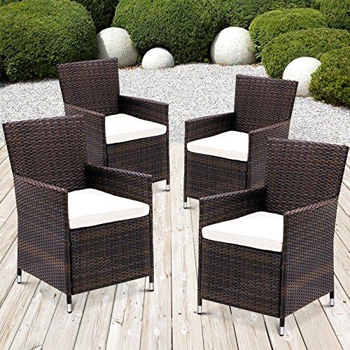 MIADOMODO Polyrattan Gartenmöbel Rattanmöbel Stühle inkl. Sitzkissen in 2er-Set und 4er-Set in...