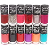 Makeup Mania Nail Polish Set Combo (Red, Orange, Pink, Glitter, Black, Purple, Pack of 12)