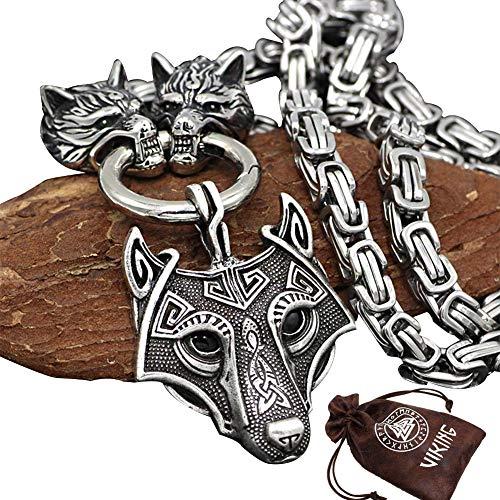 BBYaki 3D Cabeza de Lobo Odin Viking Collar Colgante Celtic Cadena de Metal Cuadrada de Acero Inoxidable Cadena Imperial Fenrir Colgante Titanio Acero Rey Cadena Hombre Plata,ChainLength70cm