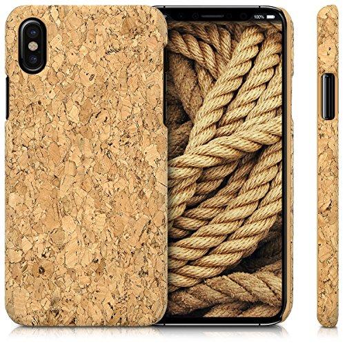 kwmobile Cover in sughero per Apple iPhone X - Cover per cellulare Case protezione rigida marrone chiaro