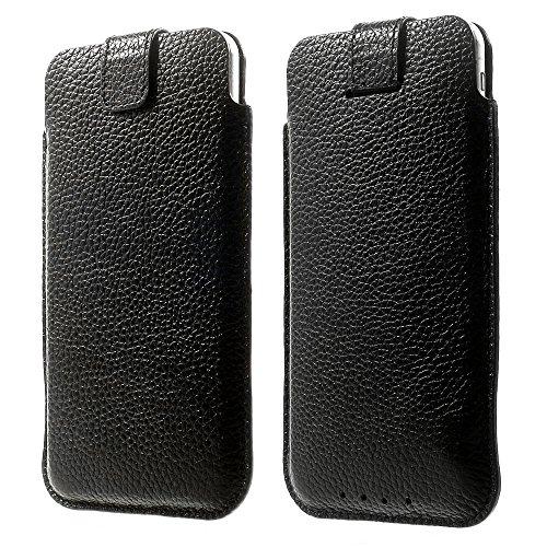 iPhone 6/6Plus Hülle, Tasche aus echtem Rindsleder, zum Einstecken und Herausnehmen + 2Displayschutzfolien + Eingabestift, Leder, weiß, iPhone 5C|5S|5 schwarz