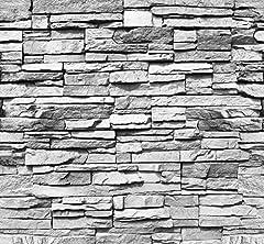 Idea Regalo - livingdecoration Carta da Parati Pietra 3D 274,5 x 254 cm Muro Mattoni Nero Bianco Fotomurali Poster Gigante Fotomurali Poster Gigante Inclusivo Pasta Polvere di Colla Nuova