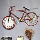 Vintage clock shop Retro Wanduhr, Wohnzimmer Wanduhr Bar Blumen Shop Cafe Dekoration Massivholz Fahrrad Wanduhr Länge 81-93CM (Farbe : B-59*93CM)