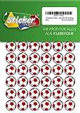 135 Aufkleber, Fußball, Sticker, 20 mm, weiß/rot, aus PVC, Folie, bedruckt, selbstklebend, EM, WM, Bundesliga