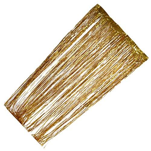 Sharplace Lametta Fadenvorhang Fadengardinen - Gold, 3m X 1m