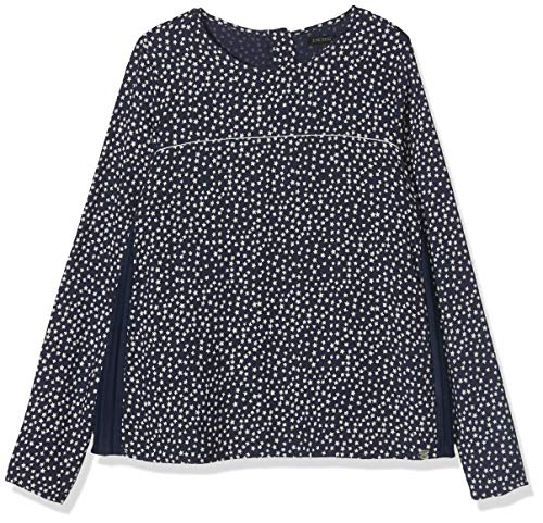 IKKS Junior Blouse BI Matiere All Over/Navy Plisse, Bleu Imprimé 48, 8 Ans (Taille Fabricant:8A) Fill