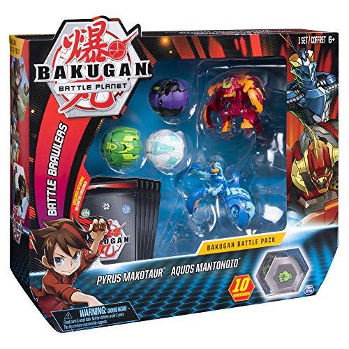 Bakugan Battle- 5 Pack de 5 Pyrus Maxotaur, Aquos Mantonoid,...