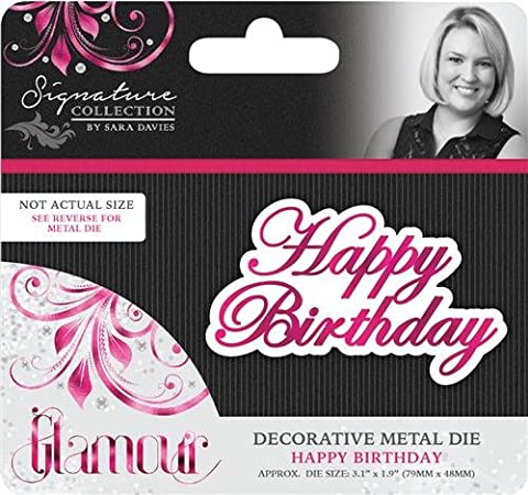 Sara Signature Glamour Metal Die Happy Birthday, Silver