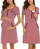 UNibelle Damen Umstandskleid Stillkleid Mutterschafts Kleid Streifen Kurzarm Umstandsmode Schwangerschafts Kleid Kurzarmes Rundhals Nachtwäsche YDF2 S