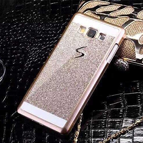 Samsung Galaxy J7 Hard back glitter cover Golden by mobbysol