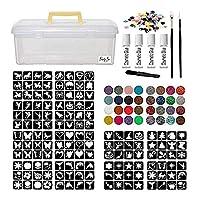 Glitter Tattoo Kit - Jumbo Girls & Boys 288 Stencils Brushes Glitter Pots Gems Waterproof Adhesive (Complete Kit 43.)
