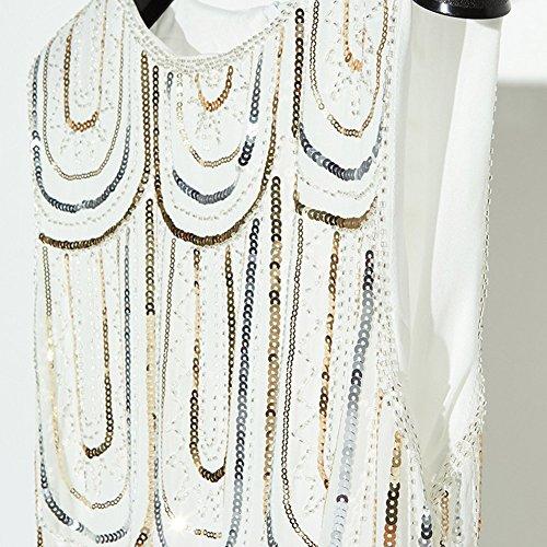 Femmes Robe Vintage Luxe Sparkly Paillette Robe de Cocktail Blanc