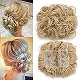 TESS Haarteil Dutt Haargummi Synthetik Haare für Haarknoten Zopf Gummiband Hochsteckfrisuren Haarband Hellgoldblond/Hell-Lichtblond