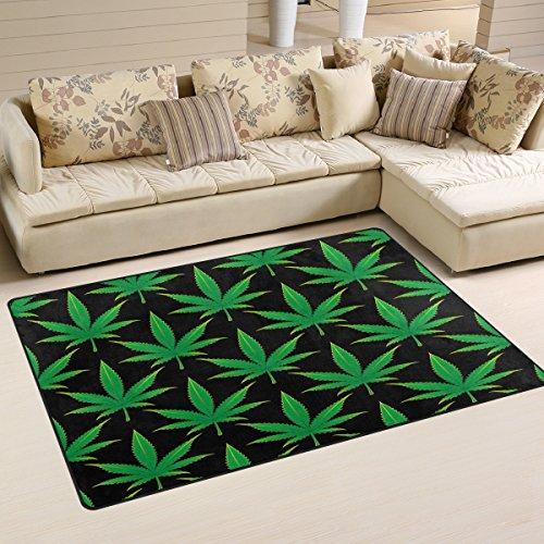 Use7 Alfombra de Cannabis Marijuana con área de Hojas Antideslizante, Alfombrilla de Suelo para salón...