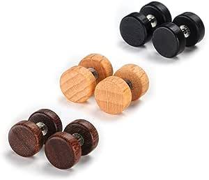 VU100 3 paia di orecchini a perno (set da 6), 10 mm, ipoallergenici, in acciaio al titanio e legno, effetto piercing dilatatore, per uomo e donna