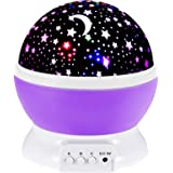 Toys for 2-7 Year Old Girls,Baby Night Light with Projector 360 Degree Rotation, 4 LED Bulbs 9 Light Color Changing USB Cable