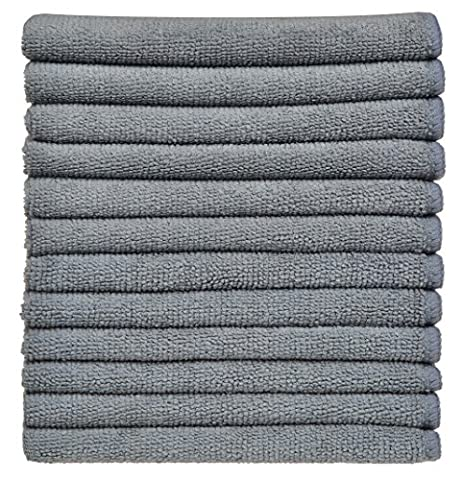 Sinland Absorbent Microfibre Dish Cloth Kitchen Streak Free Cleaning Cloth Dish Rags Lens Cloths 30cmx30cm Pack of 12 Grey