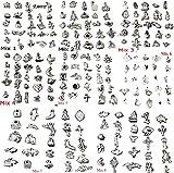 RKC - Ciondoli pendenti per braccialetti, in argento tibetano, assortimento non casuale, ma da scegliere, 8lotti da GB, placcati in argento antico senza nichel né piombo,compatibili con braccialetti Pandora, Biagi, Troll, Chamilia, selezionare il mix desiderato come da foto, da 25a 200pezzi, Lega, Silver Black, MIX 1-8 (200 Pcs)