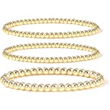14K Gold Plated Bead Ball Bracelet Stretchable Elastic Gold Beaded Bracelets for Women