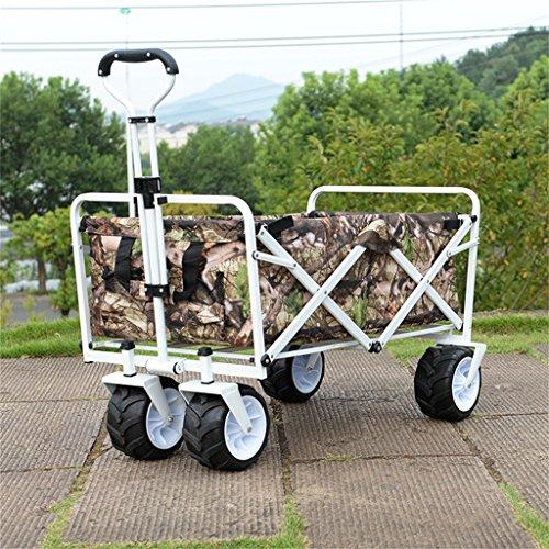 Carro de mano DELLT portátil playa pesca coche/niño Camper carro de viaje/carro de compras cuatro rondas tanque rueda Van/carga 68 Kg (Color : #4)