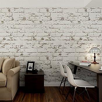 hanmero papier peint brique blanche vintage intiss motif de pierre 3d pour salon chambre tv. Black Bedroom Furniture Sets. Home Design Ideas