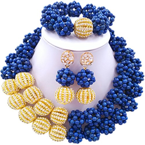 Laanc 2rows Rouge Collier de perles Turquoise et strass Doré du Nigeria africain Bijoux Femme Définit Dazzling Blue and Rhinestone Gold