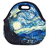 iColor Soft Boys Girls Waterproof Insulated Neoprene Food Container School Office Travel Outdoor Work Lunch Bag Tote Cooler Lunchbox Handbag Food Storage Carrying Case (Starry Night) F-LB-167