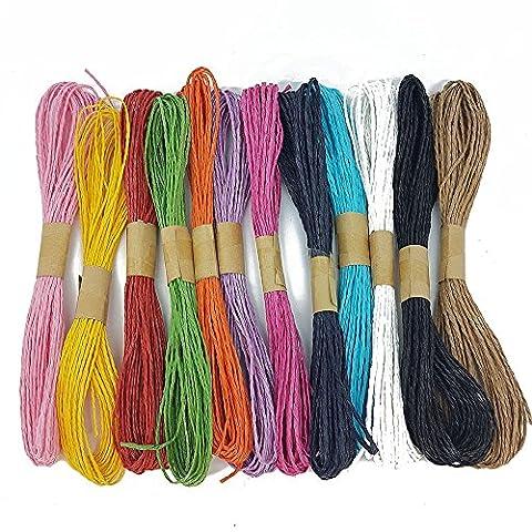 Rouleau de 12x 10metre de papier raphia Cordon Craft Ficelle Corde de corde Craft par des accessoires de scrapbooking grenier