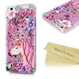iPhone 6 Plus Hülle Einhorn Mavis's Diary Rosa Treibsand Silikon iPhone 6s Plus Case Handyhülle Crystal TPU Back Tasche Schutzhülle Cover Fall Euit Back Cover Bumper Handytasche Scratch Telefon-Kasten Handycover