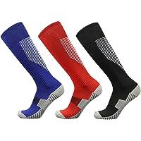 Skystuff 3 Pairs Men Women Football Sock, Adult Sport Socks Non-Slip Knee High Long Soccer Cock for Football, Basketball…