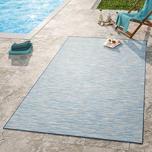 TT Home Moderner Outdoor Teppich Wetterfest Für Innen- Und Außenbereich Meliert In Blau, Größe:160x220 cm - Blauer Teppich Outdoor Teppiche