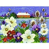 DMC–Kit de punto de cruz, diseño de jardín de invierno Paisajes de temporada, 100% algodón, varios, 4unidades)