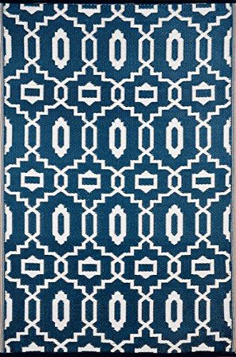Green Decore Outdoor-Teppich, wendbar, leicht, Kunststoff, 120x 180cm, Dunkelblau/Weiß