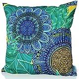 """Sunburst vida al aire libre diseño de la rana Gustavo manta decorativa almohada cojín funda para sofá, cama, sofá o Patio–Único caso, no Insertar, poliéster, Blue Candy, 24"""" X 24"""""""