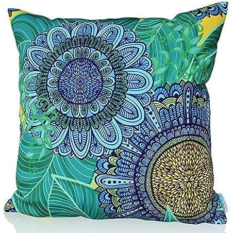 Sunburst vida al aire libre diseño de la rana Gustavo manta decorativa almohada cojín funda para sofá, cama, sofá o Patio–Único caso, no Insertar, poliéster, Blue Candy, 24
