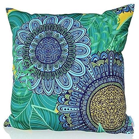 Sunburst Outdoor Living 60cm x 60cm BLUE CANDY Flower Pattern Decorative Throw Pillow Cushion Cover (Tan Toss Cuscino)