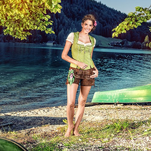 ALMBOCK Trachten Mieder Damen grün | Stretch Trachtenmieder in grün | Tracht Weste für Dirndl - 2