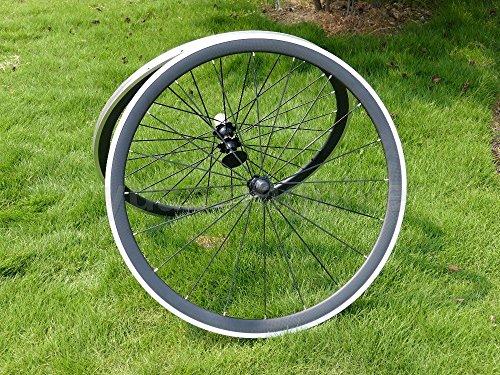 Full Carbon UD Glossy Road Bike Drahtreifen Felge 38mm Legierung Bremse Seite Breite 23mm Toray Carbon Laufradsatz für Campagnolo -