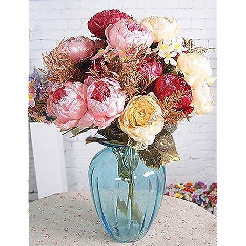 Home decorazione di fiori artificiali, Flash Peonia in panno di seta Fiori artificiali per decorazione(5pz.) , pink