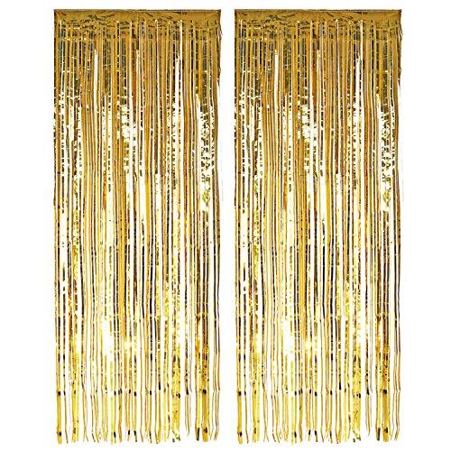 knowing 2 Stücke Quaste Folie Vorhang Metallic,Folie Fransen Vorhänge Tür, Lametta Vorhang dekorative,Für die Partyhochzeit Dekoration (Gold)