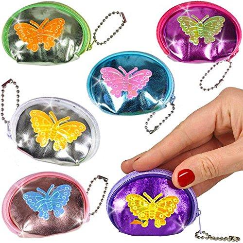 German Trendseller® - 12 x Kinder Geldbörsen Schmetterlinge Mitgebsel ┃ Portmonee ┃ Kindergeburtstag ┃ 12 Stück