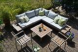 Bomey Lounge Set I Gartenmöbel Orlando 4-Teilig I Edelstahlbeschichtete Alu Essgarnitur I Sitzgruppe im Teak Holzdekor + 2 Stapelstühle + Tisch + Polster I Dining Lounge für Terrasse + Wintergarten