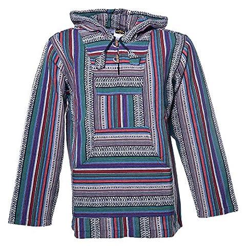 Nepal Baja Hoodie Pullover Sweatshirt Poncho von Kunst und Magie, Farbe:Grau / Lila, Größe:XXS (Nepal Herren Hoodie)