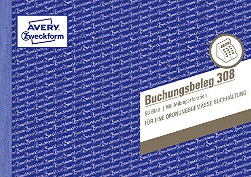 AVERY Zweckform 308 Buchungsbeleg (A5 quer, mikroperforiert, von Rechtsexperten geprüft, für Deutschland zur lückenlosen Buchhaltung, mit T-Konto, Buchungstext inkl. Unterschriftenzeile, 50Blatt) weiß