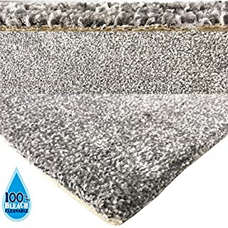 AGD Bleach Cleanable Soft Saxony SILVER GREY Carpet Hessian Backing 4M Width - Sold per continuous 25cm increments - Quality Product Suitable for Bedroom, Lounge or Hall Stair & Landing